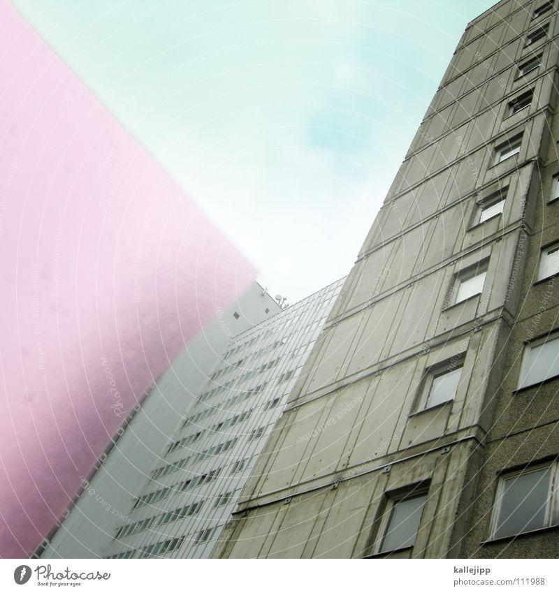 colour up my life Folie Klarsichtfolie Schreibwaren rosa Hinterhof Berlin-Mitte Osten Rinnstein Elendsviertel Haus leer Zwischenraum Himmel Wand Fenster Mieter
