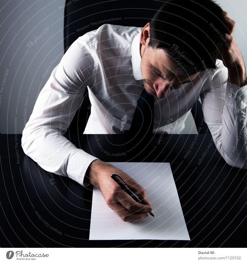 blackout Mensch Mann Erwachsene Leben Denken Kopf Schule Arbeit & Erwerbstätigkeit träumen maskulin Business Angst nachdenklich Büro Studium lernen