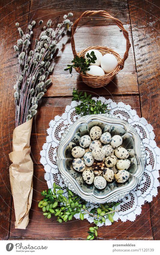 Osterzusammensetzung aus Eiern und Kätzchen auf Holztisch Dekoration & Verzierung Tisch Ostern Frühling Papier Metall natürlich braun grün Tradition Korb