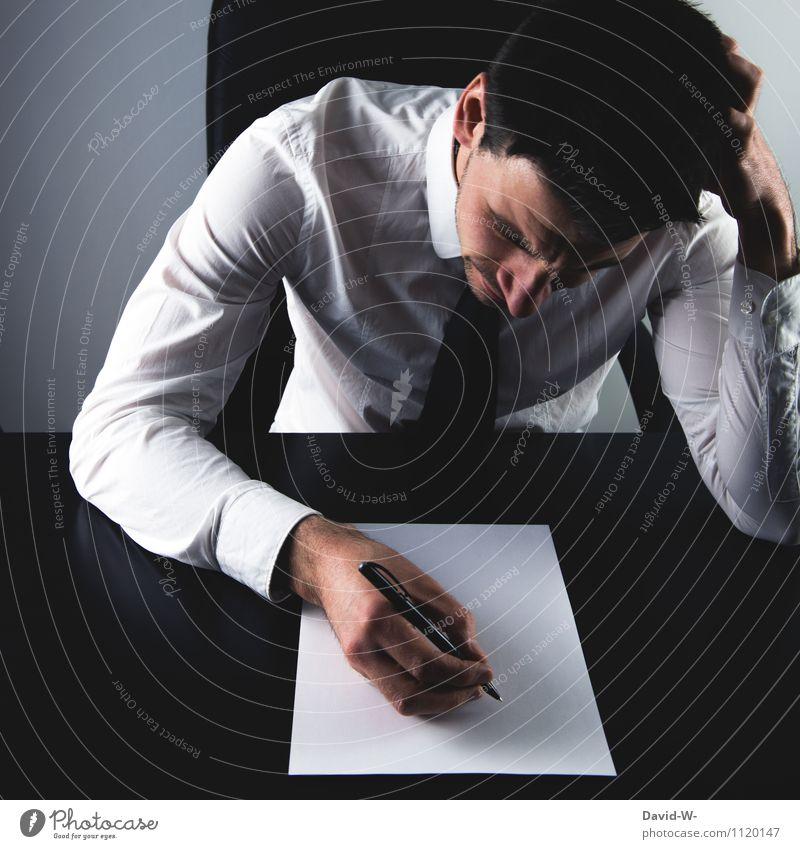 auf Arbeit | überarbeitet Mensch Jugendliche Mann Junger Mann Erwachsene Leben Gesundheit Lifestyle Schule Business Arbeit & Erwerbstätigkeit maskulin Büro