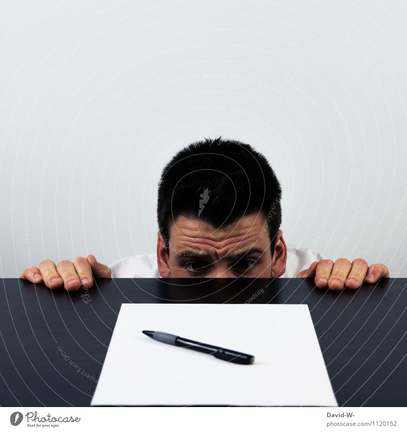 Prüfungsangst Mensch Leben Kopf Schule maskulin Business Angst Studium lernen Bildung schreiben Erwachsenenbildung Student Barriere Stress Schreibstift