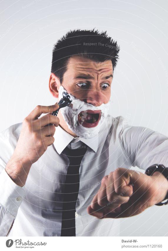 Verschlafen - Zeitdruck Business Karriere Sitzung Mensch maskulin Junger Mann Jugendliche Erwachsene Leben Kopf Hemd Krawatte Bart rennen Blick authentisch