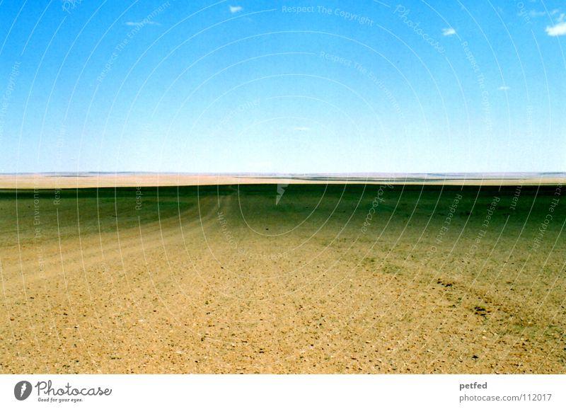 Die Gobi Himmel blau Ferien & Urlaub & Reisen Ferne träumen Stein Sand Erde wandern Erde leer Abenteuer fahren Wüste Asien Unendlichkeit