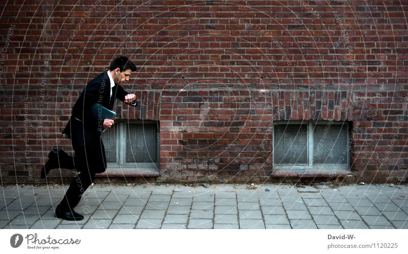 Zeitmanagement Jugendliche Junger Mann Erwachsene Leben Lifestyle Arbeit & Erwerbstätigkeit maskulin Business Uhr elegant Eisenbahn Baustelle Geld Eile Beruf