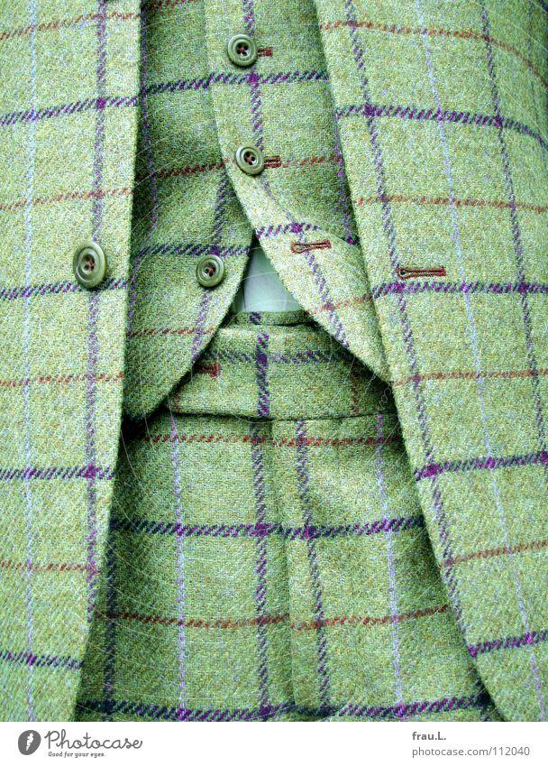 Anzug Mann schick Weste Hose Hemd Jacke Design Farbenspiel mehrfarbig Sonntag fein Reichtum Bekleidung Jacket Herrenanzug Winteranzug Wollstoff grünlich