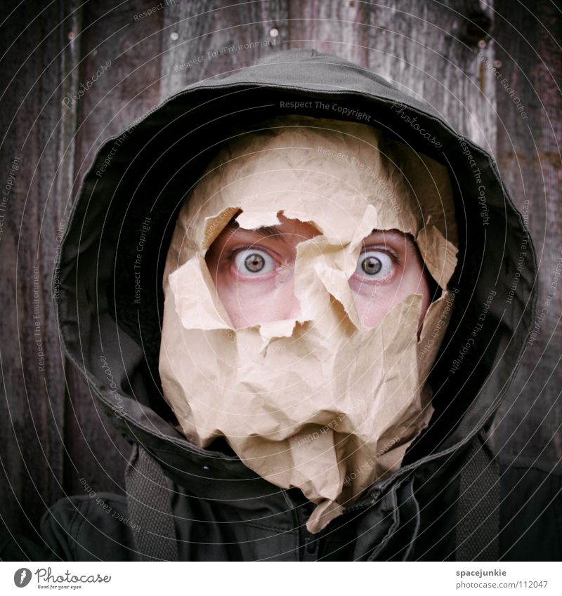 Papermonster Mann Freude Gesicht Auge Wand Holz Papier Maske skurril verstecken Karton Freak Humor Tüte Kapuze Verpackung