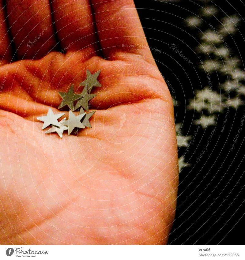 die hand Hand Basteln Dekoration & Verzierung schenken geben Finger Metall Weihnachten & Advent Stern (Symbol) dekosterne silbern silberfarbig Haut dekozeug