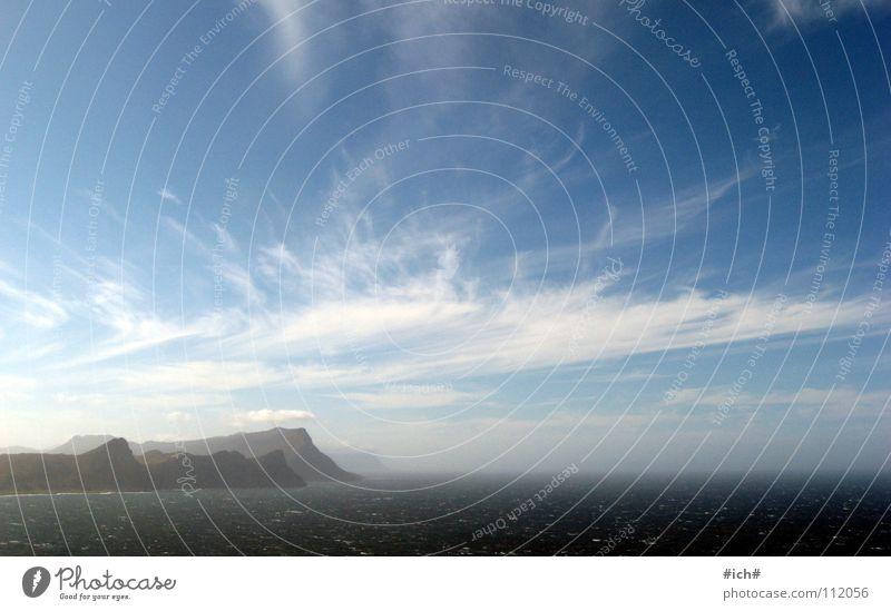 mit wolken malen Himmel Meer blau Wolken Ferne Berge u. Gebirge Wind Südafrika Cape Of Good Hope Cape Point
