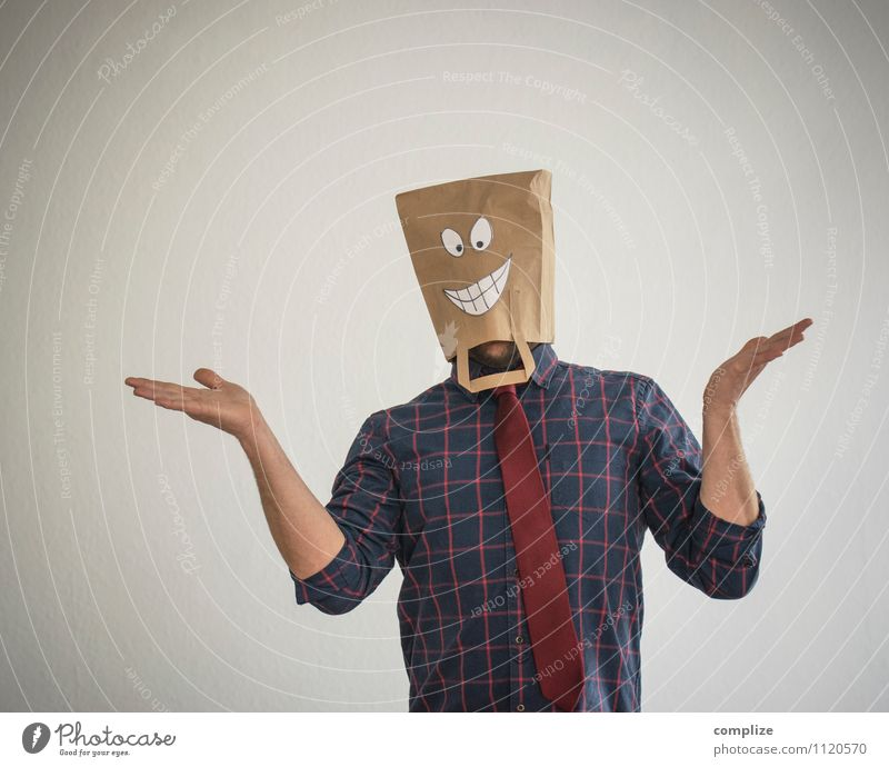 Hehe! Mensch Mann schön Hand Freude Erwachsene Gesicht lustig sprechen Glück lachen Arbeit & Erwerbstätigkeit maskulin Business Erfolg Arme