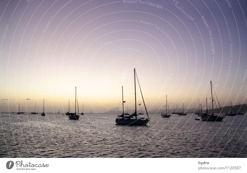 Zeit für den Sundowner Ferien & Urlaub & Reisen Wasser Erholung Meer ruhig Ferne Küste Freiheit Stimmung Horizont träumen orange ästhetisch genießen Abenteuer
