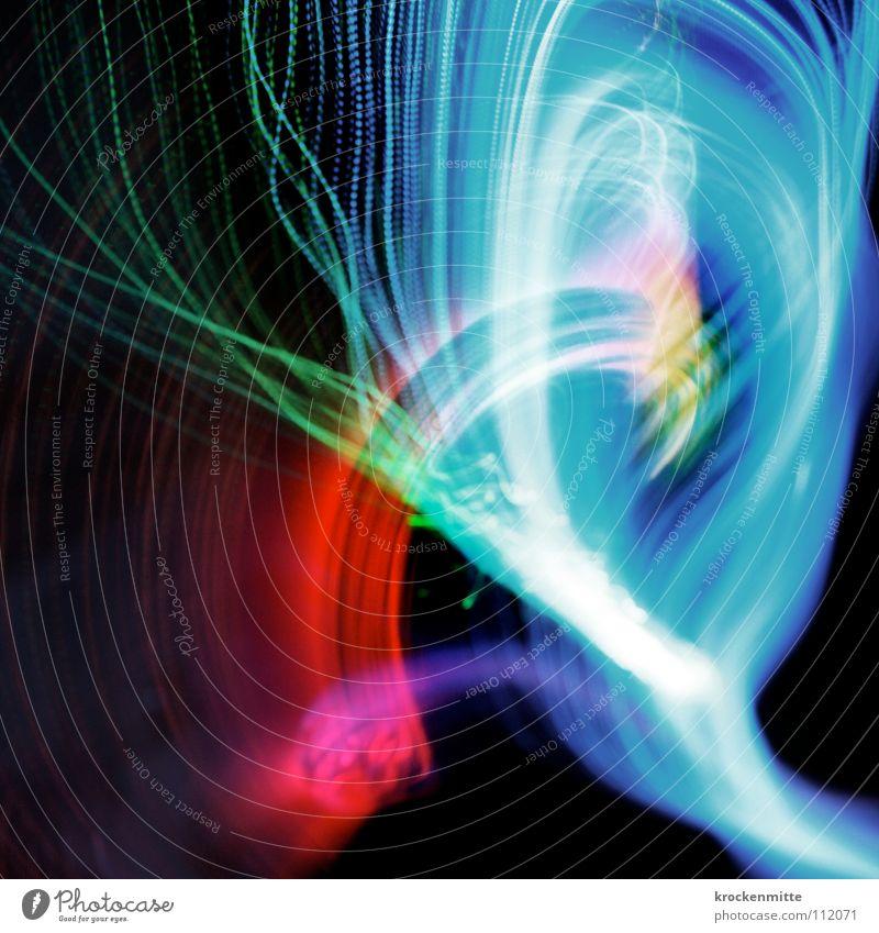 Lichtertanz II abstrakt Streifen Nacht rosa rot grün Schwung Langzeitbelichtung Schwanz Farbe Lampe Linie Nebel blau Bewegung Bogen Unschärfe