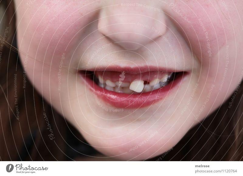 Wackelzahn Kind Mädchen Kindheit Gesicht Nase Mund Lippen Zähne Schneidezahn Milchzähne 1 Mensch 3-8 Jahre hängen Lächeln leuchten Wachstum Freundlichkeit