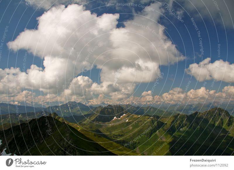 Wolken über Kitzbüheler Alpen Haushuhn Bundesland Tirol Österreich Natur grün Panorama (Aussicht) Wiese Alm Bergwiese Gras Pflanze Horizont weiß grau intensiv