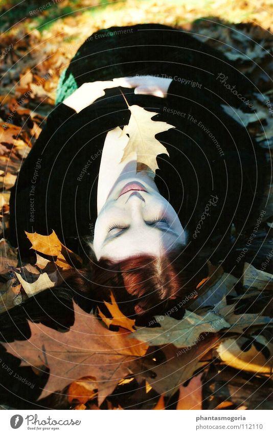 Schlafende Waldfee ruhig Blatt Wald Herbst Sand Zufriedenheit Erde schlafen Fee Hexe