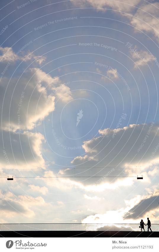 paar, unten rechts Lifestyle Freizeit & Hobby maskulin feminin Paar 2 Mensch Umwelt Himmel Wolken Klima Schönes Wetter Brücke Fußgänger Wege & Pfade gehen