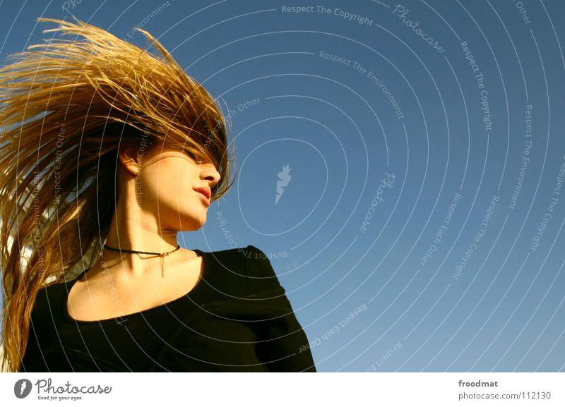 Friseurtermin Mensch Frau Himmel blau schön Freude Erwachsene Gesicht Haare & Frisuren Kopf Stil Wind Aktion Coolness Lebensfreude Dynamik