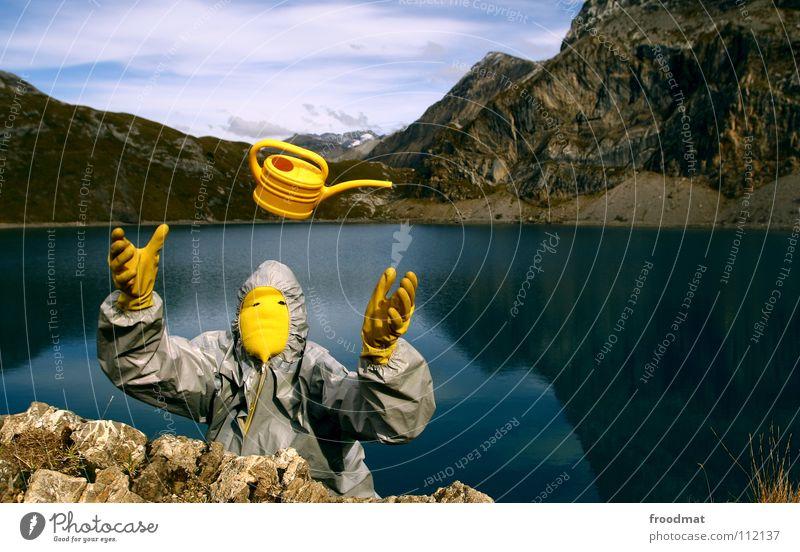 graugelb™ in der schweiz See Kannen Idylle Spiegel himmlisch dumm Schweiz Iffigensee Alpen werfen fliegen. berge Berge u. Gebirge Surrealismus blau Freude