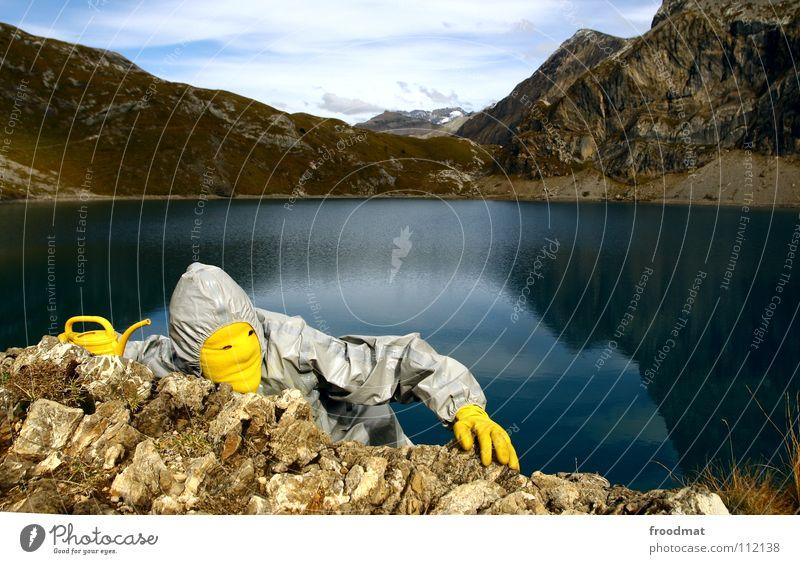 grau™ klettert Freude gelb Berge u. Gebirge Stein Schweiz Klettern Alpen dumm Surrealismus Kannen