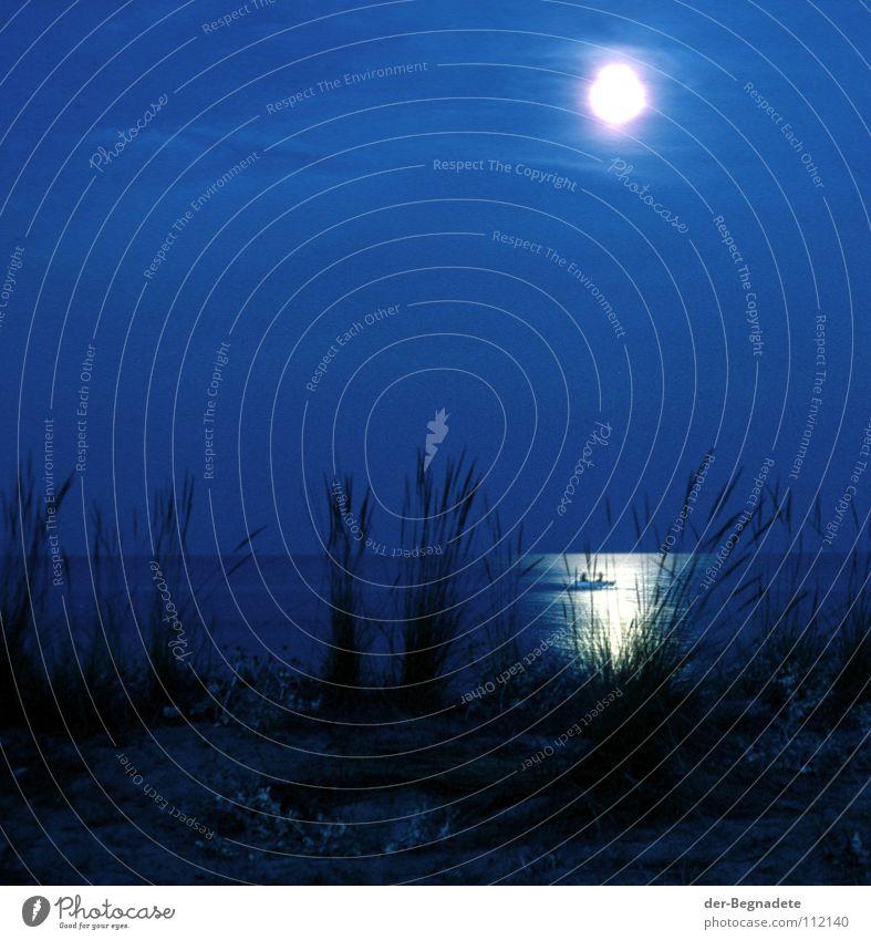Mondschein 78 blau Strand Ferien & Urlaub & Reisen Meer ruhig dunkel Freiheit Gras Sand Küste Horizont Romantik Frieden Griechenland Selbstständigkeit