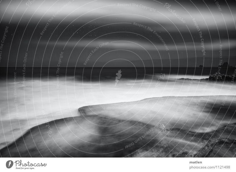 700 I panta rhei Himmel Natur weiß Wasser Meer Landschaft Wolken schwarz Küste Felsen Horizont Wetter Wellen Stern Bucht Treppengeländer