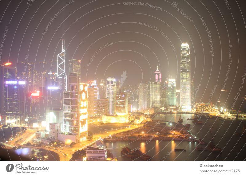 Hong Kong Nacht Hochhaus Hongkong Asien Verkehrswege Licht ifc Tower Hong Kong Island