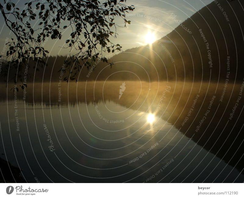 Morgenstimmung am See ruhig Herbst See Küste Vergänglichkeit aufwachen