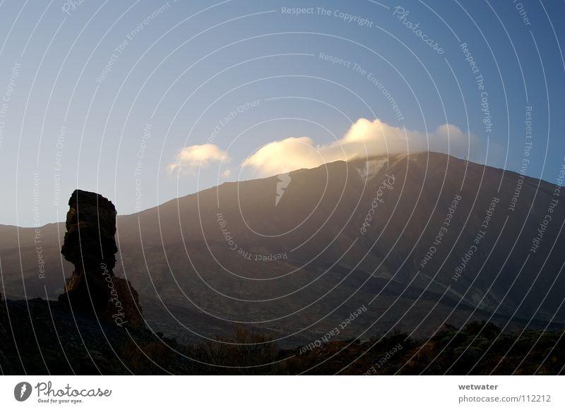 Teide Kanaren Sommer Teneriffa Ferien & Urlaub & Reisen Wolken Himmel Hochgebirge Sonnenuntergang Aussicht Einsamkeit Wüste Stein Mineralien Erde Sand