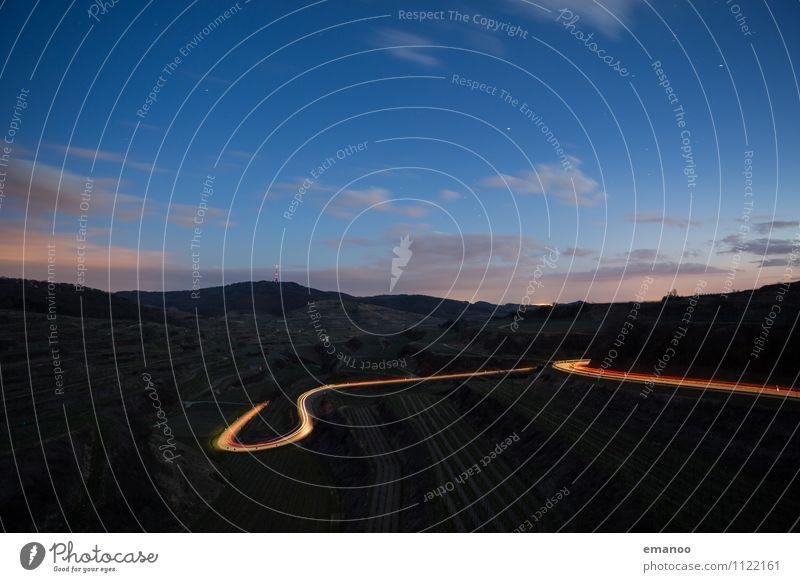 Kaiserstuhlschleife Himmel Natur Ferien & Urlaub & Reisen Landschaft Wolken Ferne Berge u. Gebirge Straße Beleuchtung Wege & Pfade Freiheit hell PKW Tourismus