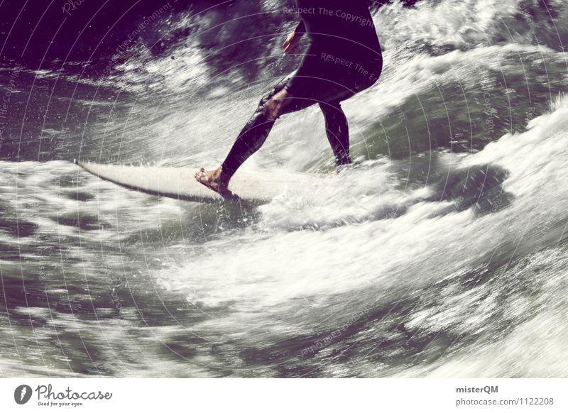 Brettspiel II Wasser Sport Beine Kunst Zufriedenheit Wellen ästhetisch Gleichgewicht Barfuß Surfen Kunstwerk Surfer Surfbrett Meerwasser Neoprenanzug