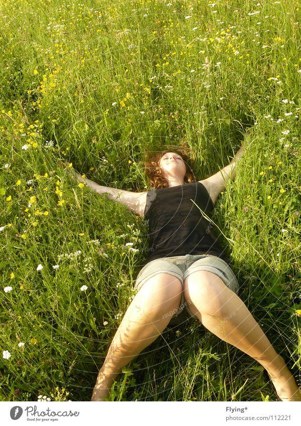 Lebensfreude Frau Blume grün Sommer Freude Ferien & Urlaub & Reisen Erholung Wiese Gras Beine Zufriedenheit Zeit Rücken einfach liegen
