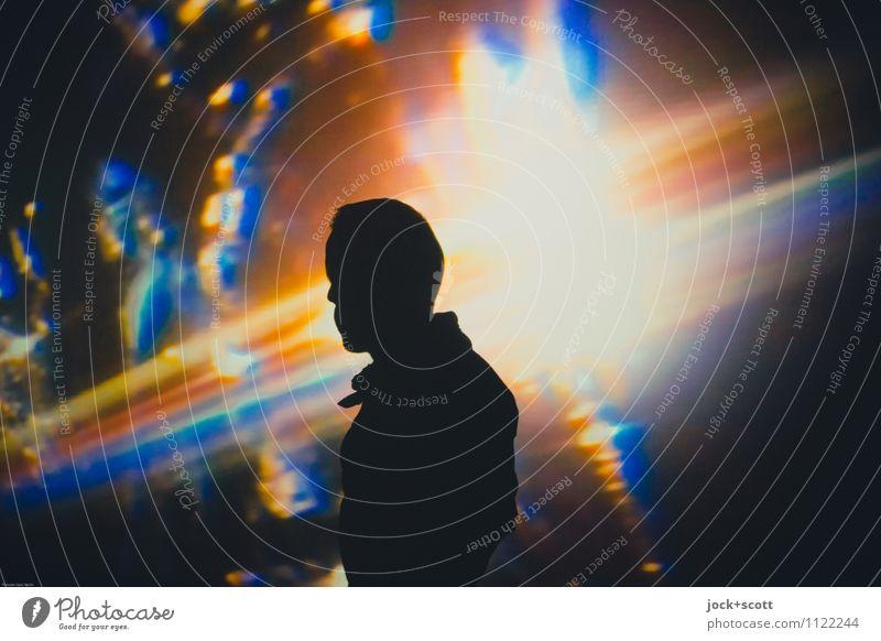 Lost in Color Meditation maskulin 1 Installationen Denken träumen fantastisch Identität Inspiration Projektion Farbverlauf Traumwelt Galaxie