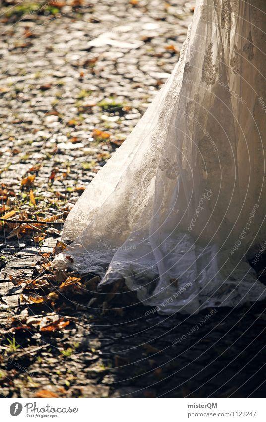 Hochzeitskleid. Kunst Mode Bekleidung Kleid Zufriedenheit Hochzeitszeremonie Braut Brautkleid Brautschleier Frau Ehe Farbfoto Gedeckte Farben Außenaufnahme