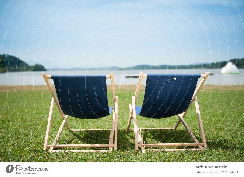 Platz in der Sonne Ferien & Urlaub & Reisen Sommer Sommerurlaub Sonnenbad Schwimmen & Baden Schwimmbad Natur Himmel Sonnenlicht Seeufer sitzen authentisch