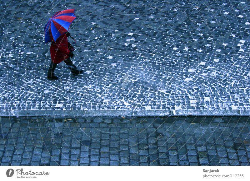 Glühwein, ich komme Frau blau weiß Stadt rot Winter Straße kalt Schnee Wärme Herbst grau gehen Platz Regenschirm Physik