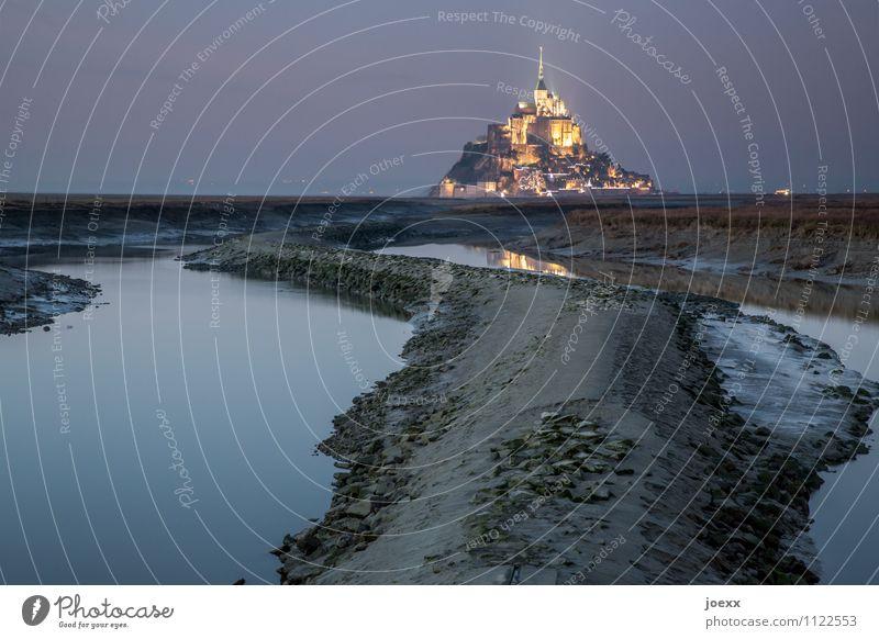 Mont-Tombe Landschaft Wasser Himmel Horizont Bucht Insel Insel Mont-Saint-Michel Fluss Le Couesnon Bauwerk Sehenswürdigkeit alt ästhetisch außergewöhnlich Ferne