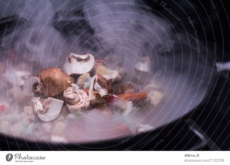 Hexenküche Lebensmittel Gemüse Champignons Wok Ernährung Vegetarische Ernährung Asiatische Küche kochen & garen Pfanne Gesunde Ernährung Herd & Backofen Metall