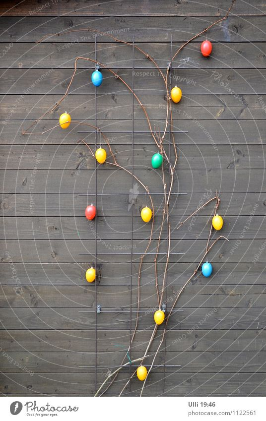 Ostern zweidimensional......... (Nr.80) blau grün rot kalt gelb Frühling Holz Feste & Feiern Garten braun Stimmung Zusammensein Dekoration & Verzierung niedlich