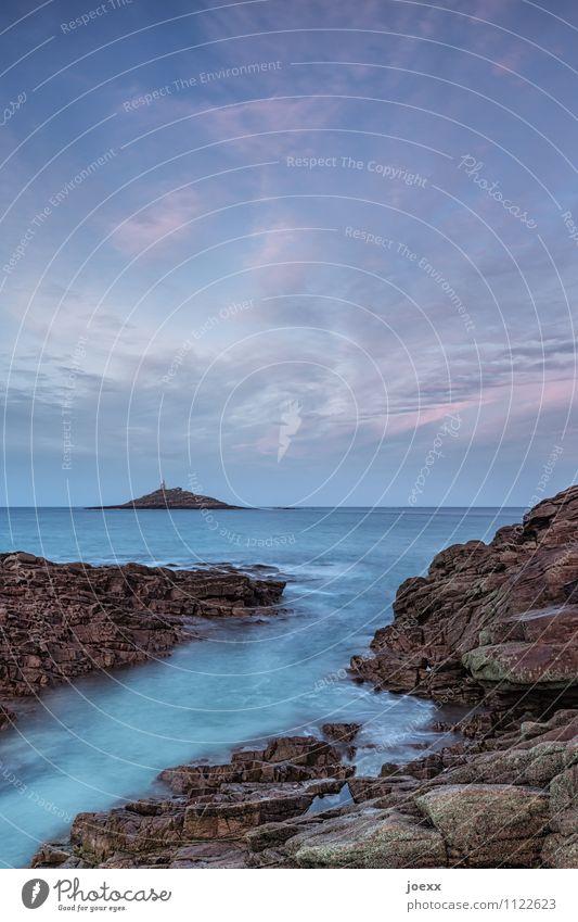 Eine Insel Ferne Wellen Natur Landschaft Wasser Himmel Horizont Schönes Wetter Küste Meer Atlantik blau braun rosa Fernweh Farbfoto Gedeckte Farben