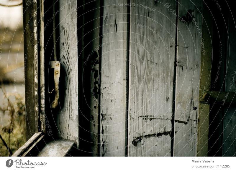 Gespenster-Fenster Aussicht Verfall Haus Gebäude Demontage Raum Holz Holzwand Ruine verfallen dunkel Fensterrahmen alt Holzbrett window durchgucken durchblicken