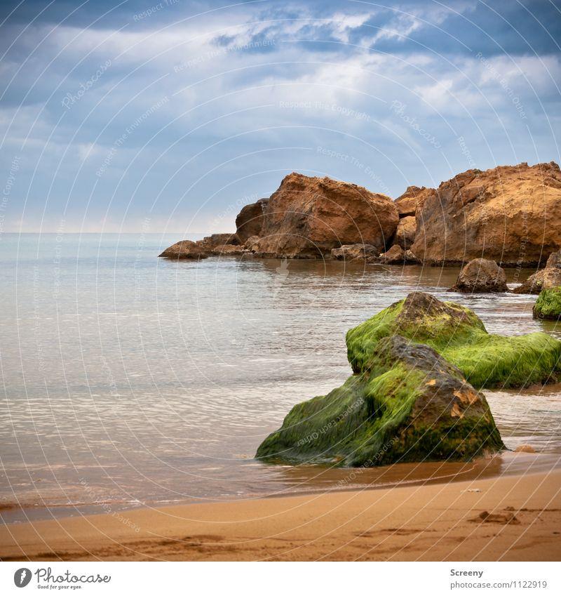 Red sand beach Himmel Natur Ferien & Urlaub & Reisen blau grün Wasser Meer Landschaft ruhig Wolken Strand Küste braun Horizont orange Wellen