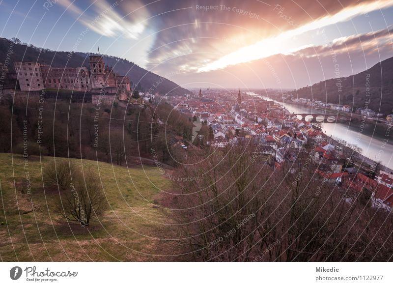 Heidelberg Natur Pflanze Wasser Himmel Wolken Sonne Sonnenaufgang Sonnenuntergang Sonnenlicht Baum Gras Hügel Fluss Kleinstadt Stadt Altstadt Haus
