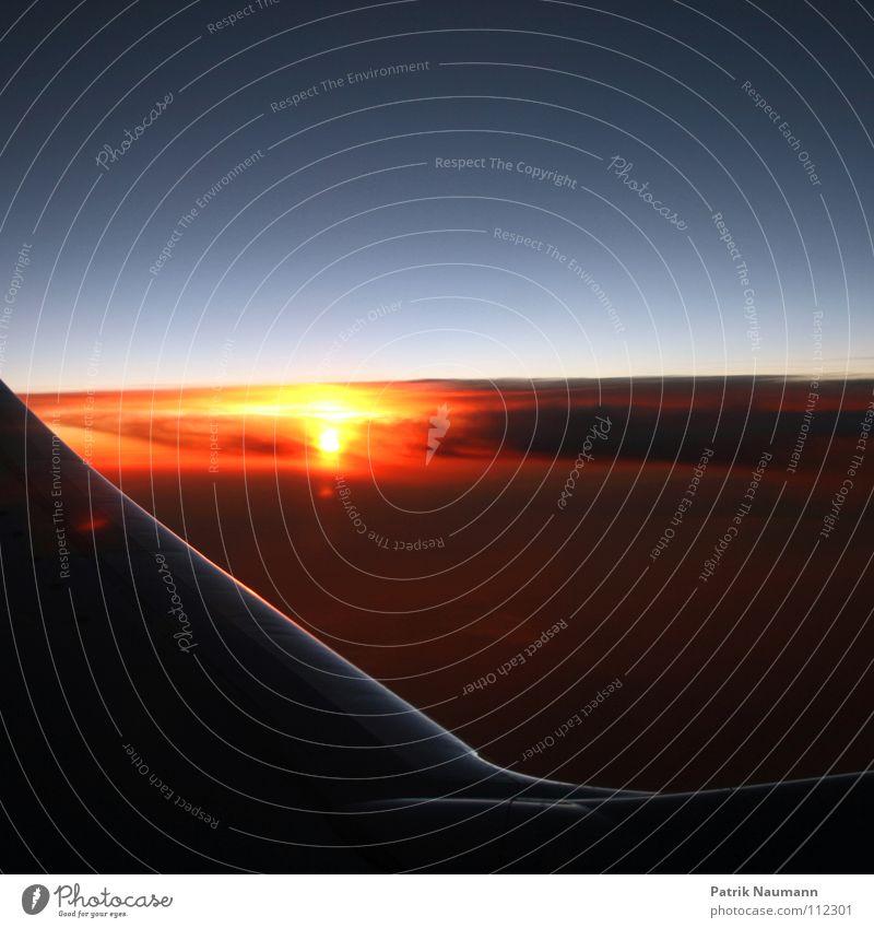 ab in den Süden III Flugzeug Abdeckung Tragfläche Sonnenaufgang Sonnenuntergang Wolken Ferien & Urlaub & Reisen Erholung Spanien technisch Metall Streifen