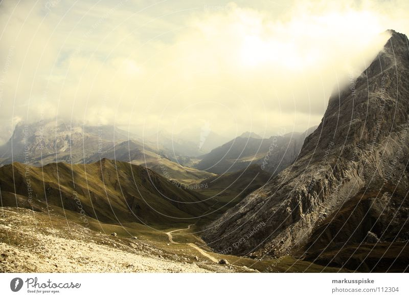 blick von den rosszähnen Nebel Seiser Alm Südtirol Wolken Hochebene wandern Freizeit & Hobby Ferien & Urlaub & Reisen Fußweg Geologie Berge u. Gebirge Alpen