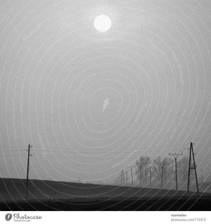 Untergang im Nebel dunkel Feld Einsamkeit grau norddeutsch Mecklenburg-Vorpommern Heimat Elektrizität Feldarbeit gruselig Angst Panik Schwarzweißfoto Winter