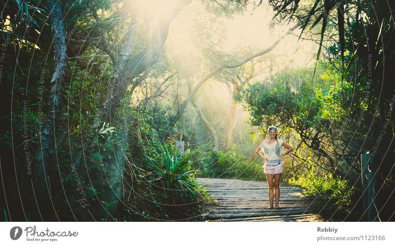 Ein Fräulein steht im Walde... Frau Erwachsene 1 Mensch Natur Landschaft Pflanze Sonnenlicht Sommer Baum Garten Park Urwald Oase Australien + Ozeanien entdecken