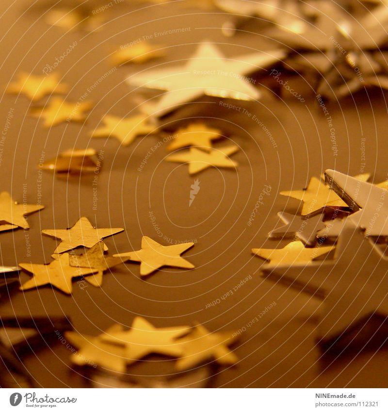 WeihnachtsSterne Weihnachten & Advent Winter gelb Wärme Beleuchtung Lampe braun Stimmung Metall glänzend Dekoration & Verzierung gold mehrere Stern (Symbol)