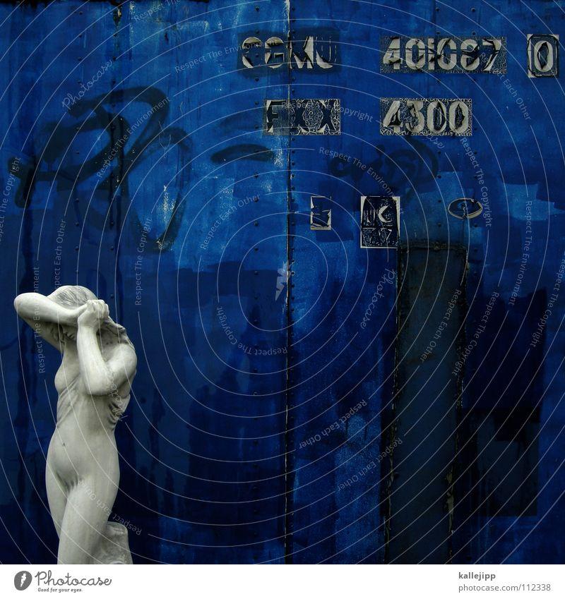 GGMU 40|087 0 FXX 4300 Frau blau alt Hand weiß Haus feminin Wand nackt Haare & Frisuren Garten Körper gehen Arme Schriftzeichen Dekoration & Verzierung