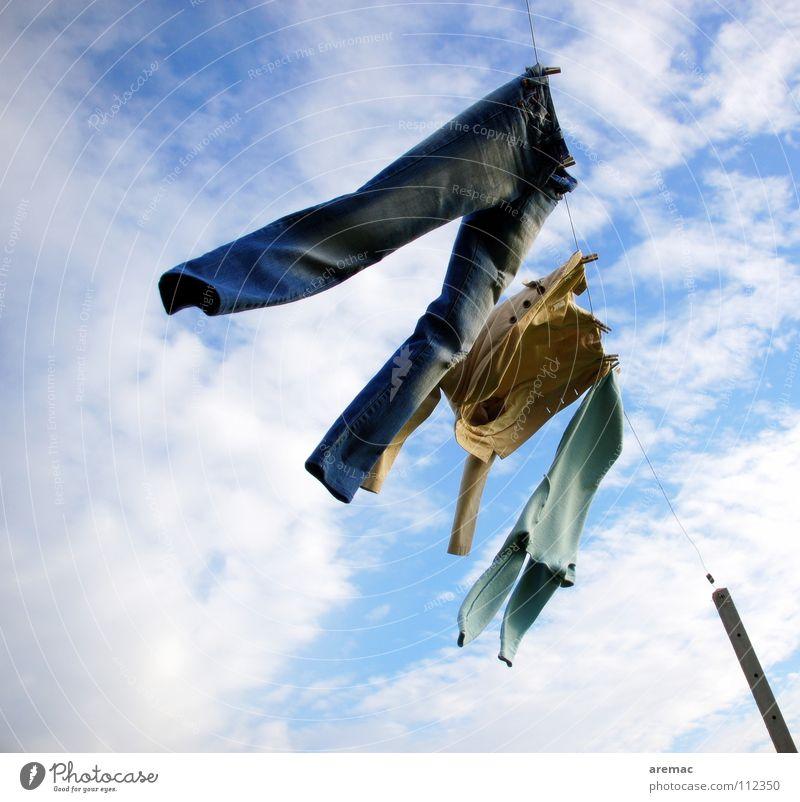 Rock'n'roll Himmel Freude Bewegung Tanzen Kunst Bekleidung Jeanshose Kultur Sturm Hose Leidenschaft Wäsche trocknen Wäscheleine