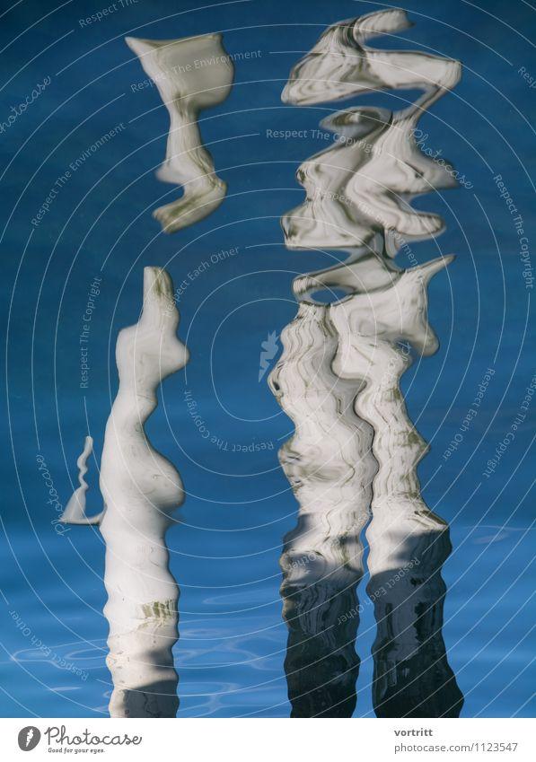 Skulptur Gemälde Umwelt Natur Urelemente Luft Wasser Bewegung blau grau bizarr See Verzerrung Surrealismus Körper Spiegelbild Existenz Farbfoto Gedeckte Farben