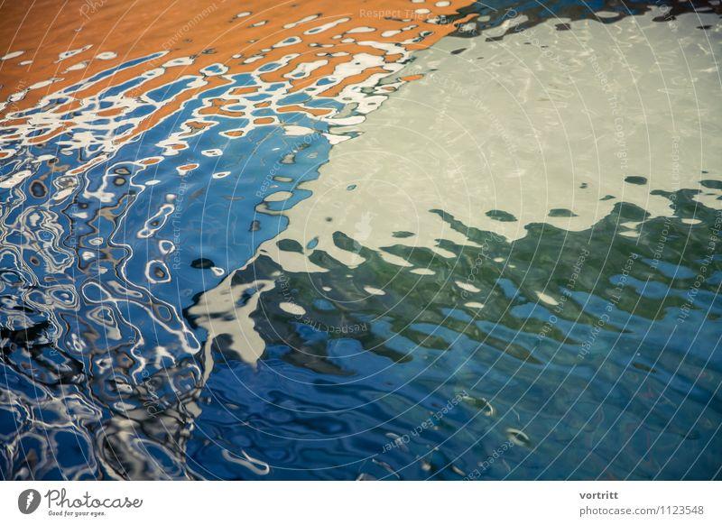 Fluss des Lebens Natur blau Wasser Umwelt Bewegung orange ästhetisch nass Urelemente Seeufer Gemälde Flüssigkeit Schifffahrt Surrealismus Segelboot Spiegelbild
